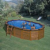 Octagonal Wooden Clad Oval Steel Pool 7.45m x 4.2m