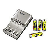 Hama Delta Flex 2/4 Plug-In Battery Charger with 4xAA Batteries (Silver)