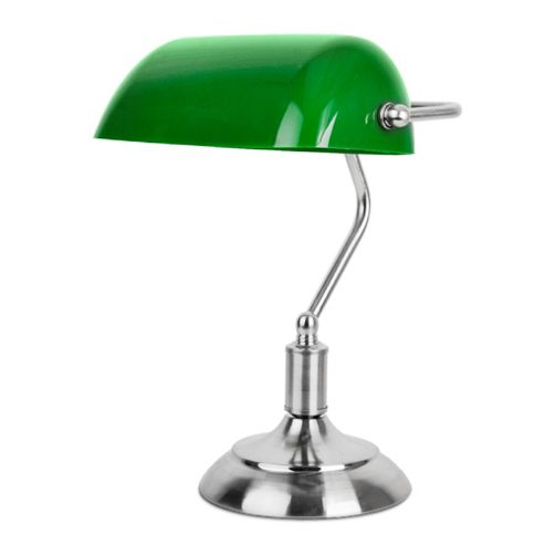 buy traditional bankers table lamp chrome green from. Black Bedroom Furniture Sets. Home Design Ideas
