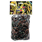 Loom Bracelet Bands 600 GREEN, BROWN & BLACK CAMO Rubber Bands with Hook Tool & Clips