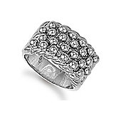 Jewelco London Rhodium Coated Sterling Silver 4 Row keeper with roped edge Ring Size