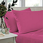 Catherine Lansfield Non Iron Percale Combed Poly-Cotton Flat Sheets in Hot Pink - Double