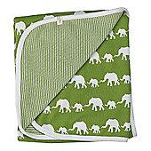 Pigeon Organics Reversible Blanket, Silhouette (Green Elephant)