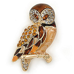 Brown Crystal Owl Brooch In Gold Plated Metal