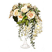 Artificial 75cm Peach and Cream Rose, White Dendrobium Orchid and Mixed Foliage Display in a Tall Goblet Glass Vase