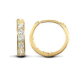 Jewelco London 9ct Yellow Gold huggie hoop Earrings channel set with brilliant cut CZ stones