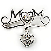 Silver Tone Diamante Charm 'MOM' Brooch