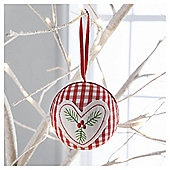 Gisela Graham Fabric Scandi Heart Design Hanging Decoration