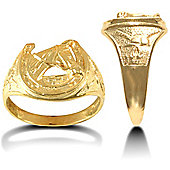 Jewelco London 9ct Solid gold light weight horse shoe Ring