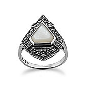 Gemondo Sterling Silver 1.50ct Mother of Pearl & 0.28ct Marcasite Art Deco Style Ring