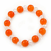Orange/ Transparent Round Glass Bead Stretch Bracelet - up to 18cm Length