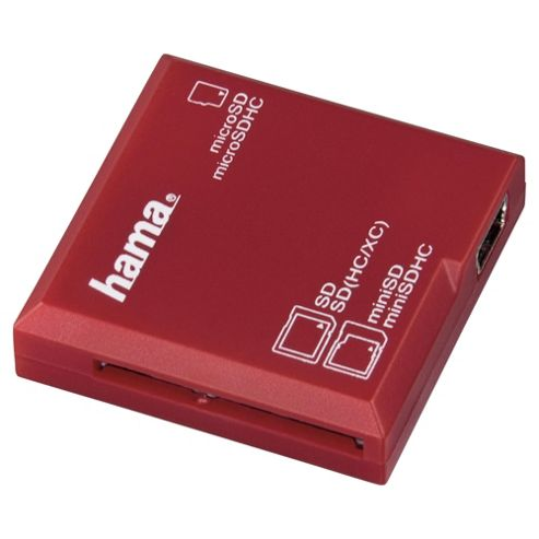 Hama All in One USB 2.0 SD/microSD Card Reader - Red