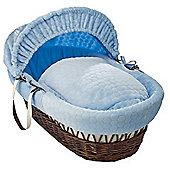 Clair de Lune Dark Wicker Moses Basket (Marshmallow Blue)