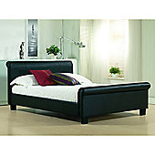 Black Round Sleigh Style Faux Leather Bed Frame - Double 4ft 6""