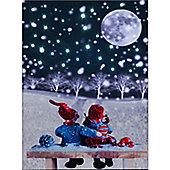 Christmas Moon Illuminated Wall Canvas 30x40cm