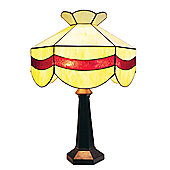 Loxton Lighting Tiffany Bistro 1 Light Scalloped Table Lamp - Mottled Red