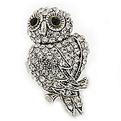Vintage Style Swarovski Crystal 'Wise Owl' Cocktail Ring In Burnt Silver - Adjustable