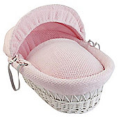 Clair De Lune Honeycomb  White Wicker Moses Basket