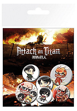 Attack on Titan Chibi Characters Badge Pack 10x14.5cm - Multi
