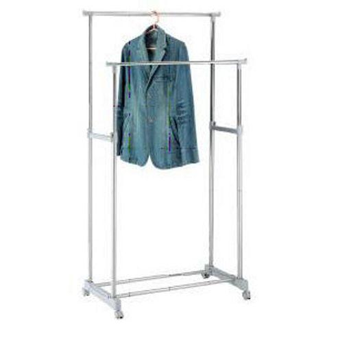 Tweddle - Metal Double Clothes Rail / Wardrobe - Silver