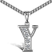Jewelco London Sterling Silver Cubic Zirconia Identity Pendant - Initial Y - 18inch Chain