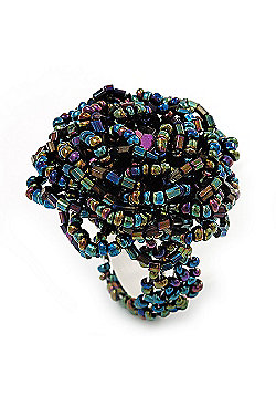 Peacock Coloured Glass Bead Flower Stretch Ring