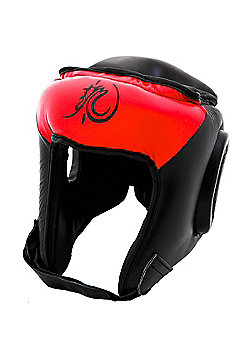Bruce Lee Dragon Deluxe Boxing Head Guard Leather - Red