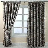 "Homescapes Grey Jacquard Curtain Geometric Diamond Design Fully Lined - 90"" X 90"" Drop"