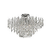 Halogen Chandelier Ceiling Light with Tiers of Heptagon Crystals