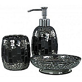 Sparkle - Mosaic Bathroom Set / Soap Dish / Dispenser / Beaker - Black