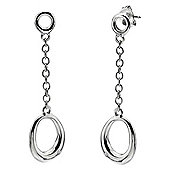 IT Diamonds Rhodium DALI Diamond Oval Drop Earrings