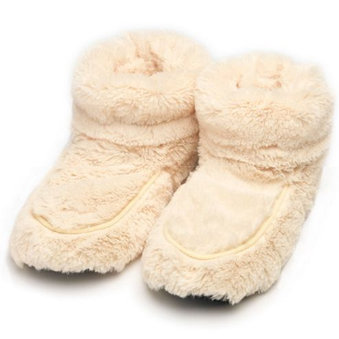Microwavable Furry Slipper Boots - Cream