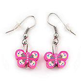 Children's Small Deep Pink Acrylic 'Butterfly' Drop Earring In Silver Plating - 3cm Length