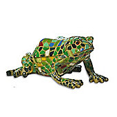 Multi Coloured Mosaic Resin Garden Frog Ornament