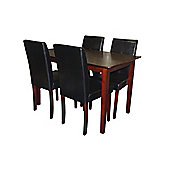 Premier Housewares 5 Piece Dining Set with Light Solid Rubberwood Cozinha - Brown