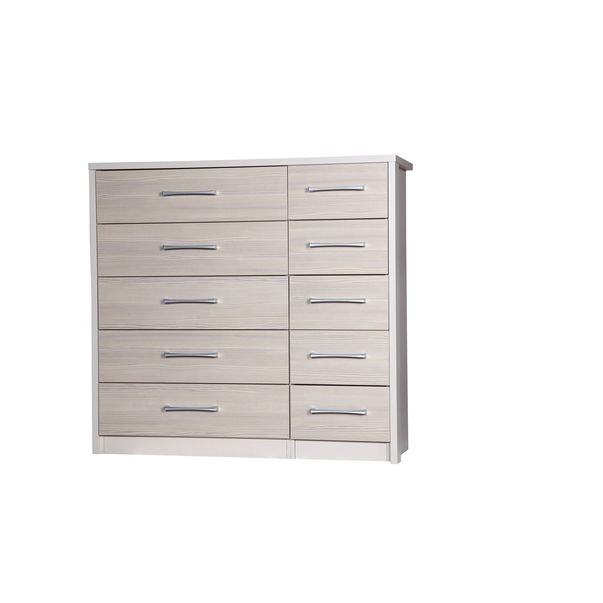 Alto Furniture Avola 5 Drawer Double Chest - Cream Carcass With Champagne Avola at Tesco Direct