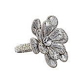 Linea Silver Flower Napkin Ring Set Of 4