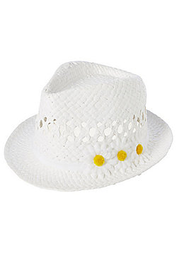 F&F Flower Corsage Straw Trilby - White