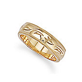 Jewelco London Bespoke Hand-made 6mm 9ct Yellow Gold Diamond Cut Wedding / Commitment Ring, Size V