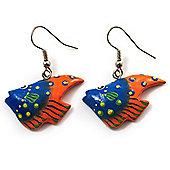 Funky Multicoloured Wood Fish Drop Earrings (Blue & Orange) - 3.5cm Length
