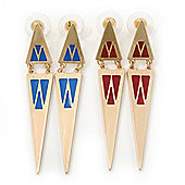 Two Pairs Blue/ Red Enamel Triangle Earring Set In Gold Plating - 7cm Length