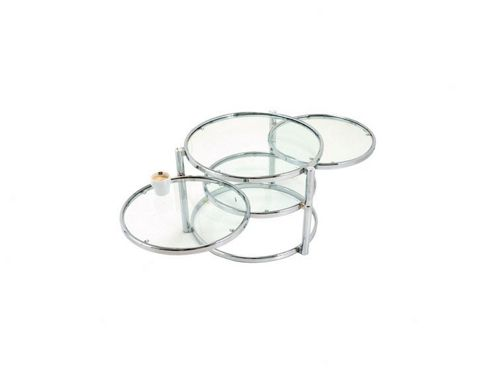 Leitmotiv Triple Swivel Glass Table in Chrome