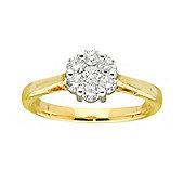 9ct Gold 0.5 Carat Cluster Diamond Ring