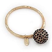 Oversized 'Shamballa' Ball Charm Boutique Bangle (Gold Plated) - 18cm Length