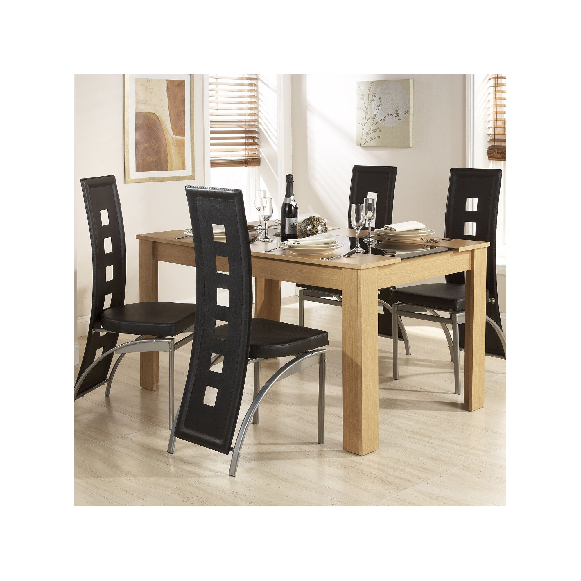 Elements Hudson 5 Piece Dining Set - Oak/Black at Tesco Direct