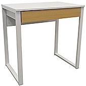 Loop - Compact Office Workstation / Computer Desk / Dressing Table - White / Oak