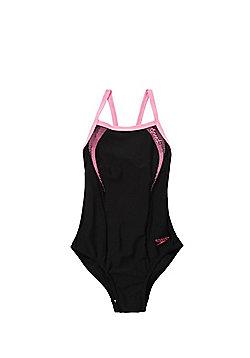 Speedo Endurance®10 Contrast Trim Swimsuit - Black & Pink