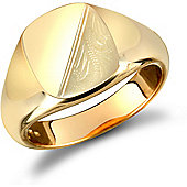 9ct Solid Gold polished Diamond cut squared cushion shaped Signet Ring