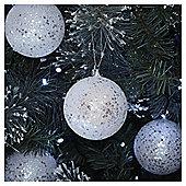 White Glitter Sequin Christmas Baubles, 4 pack