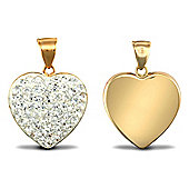 "Jewelco London - Valentine's Day - 9ct Clear Crystal-set Heart Pendant Necklace with 18"" Chain"